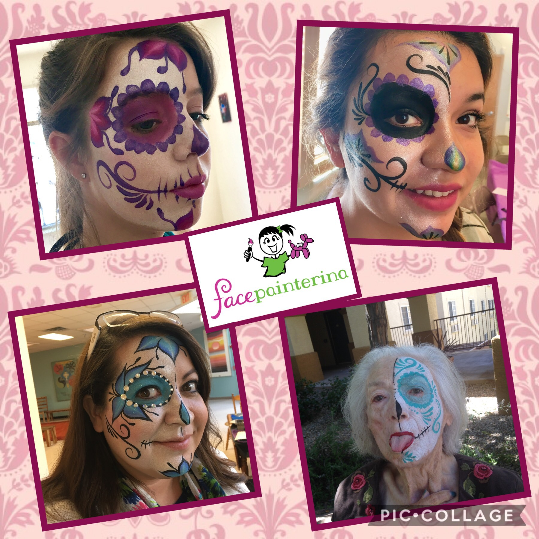 Half Sugar Skull Face Paintings painted by Facepainterina