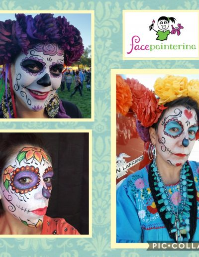Colorful Sugar Skulls painted by Facepainterina in New Mexico.