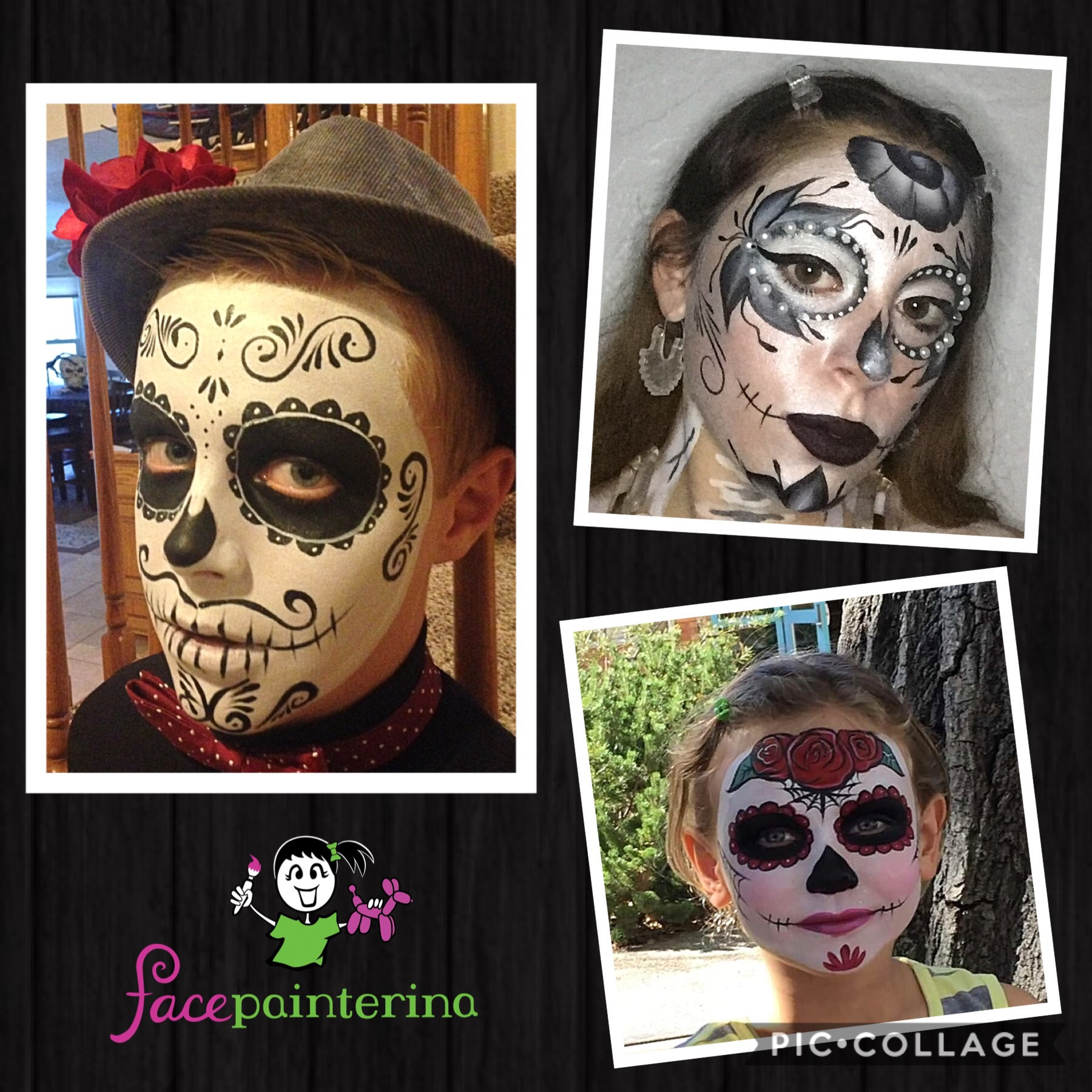 Sugar Skull Face Painting Collage