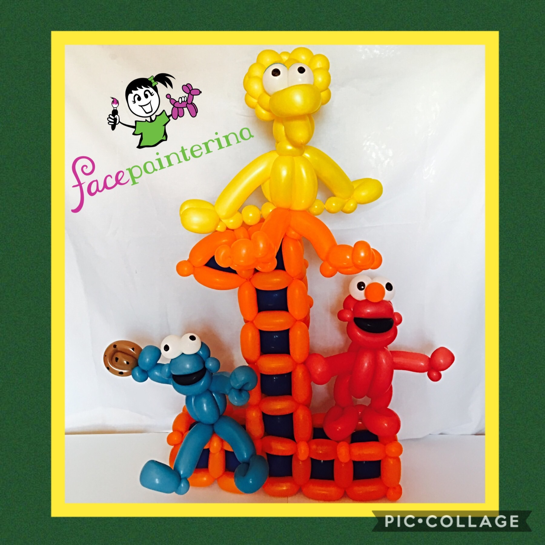 Sesame Street Number 1 Birthday Balloon Centerpiece by Facepainterina