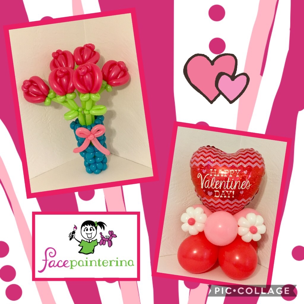 Balloon Bouquet Valentines day centerpiece and roses