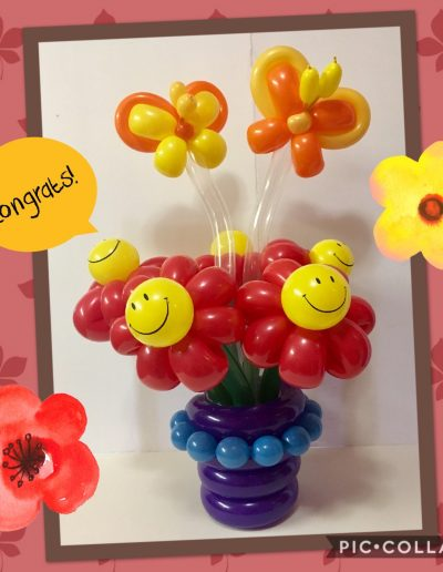 Happy Daisy Balloon Bouquet with Butterflies