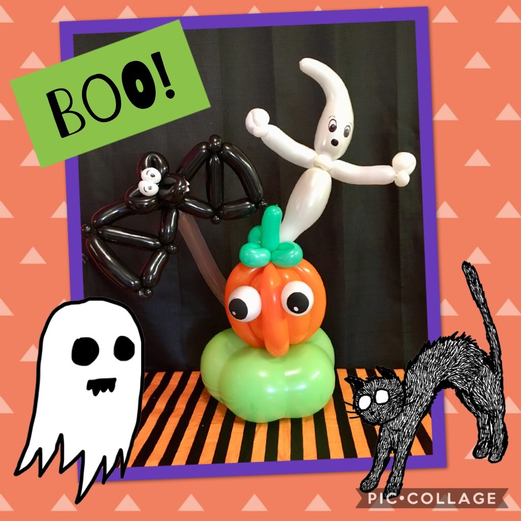 Balloon centerpiece Halloween pumpkin bat ghost