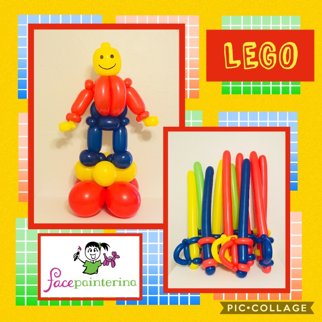 Balloon centerpiece Lego swords man