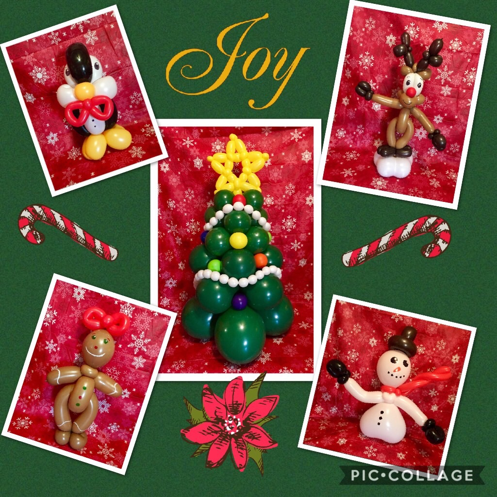 Balloon centerpieces christmas holiday tree reindeer penguin snowman gingerbread man