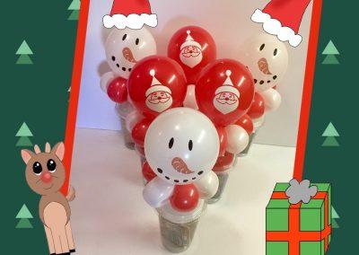 Balloon cups snowman and santa