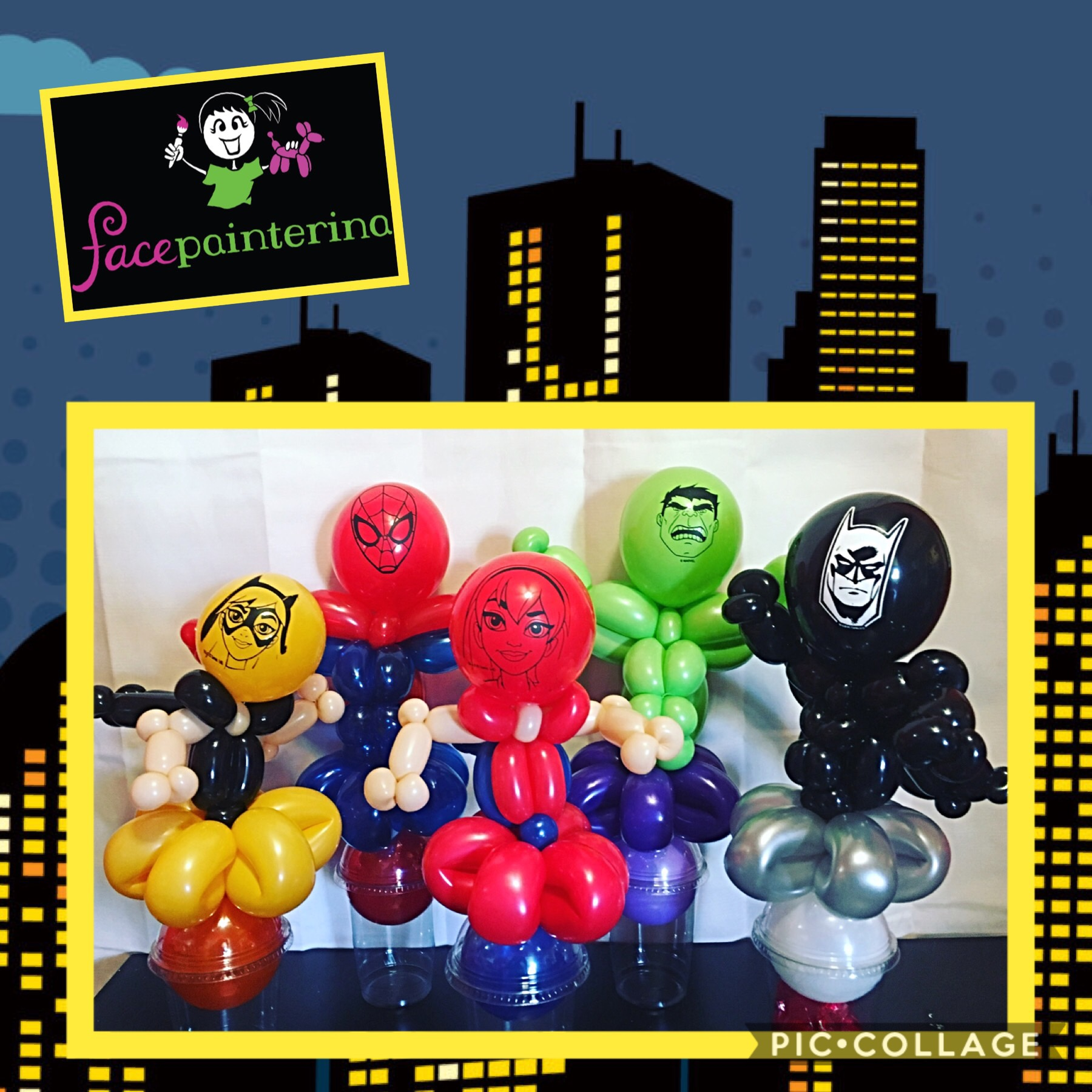 Balloon cups superhero batman hulk supergirl batgirl