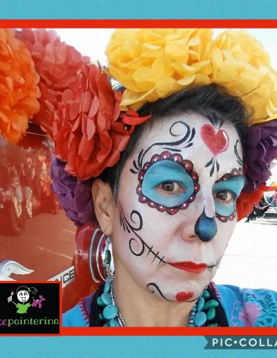 Red and Turquoise Sugar Skull Face Painting