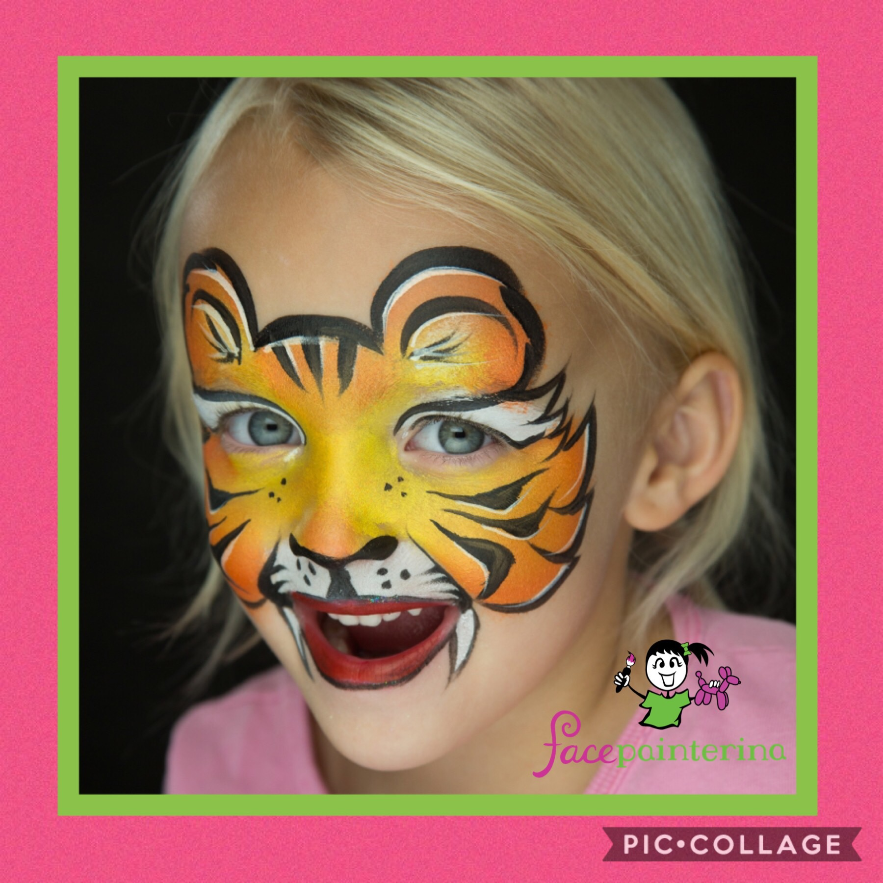 Tiger face paint with frame