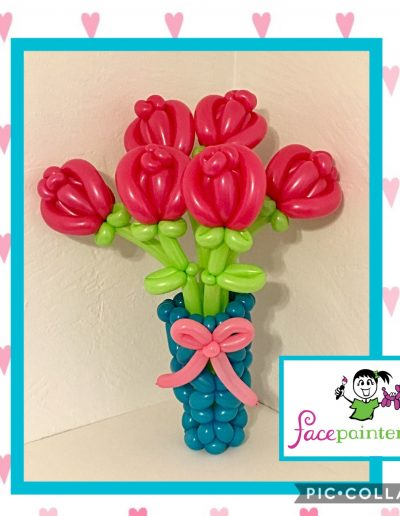 Six Balloon Rose Bouquet with Vase and Bow