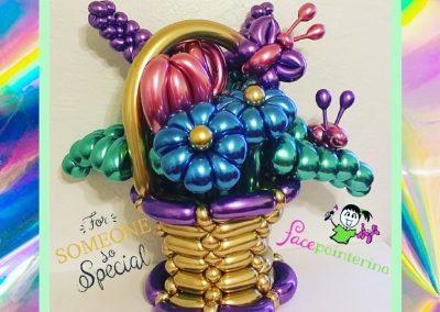 Chrome Balloon Flower Basket by Facepainterina
