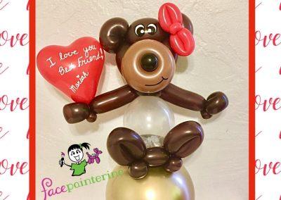 Stuffed Balloon Bear Valentine by Facepainterina