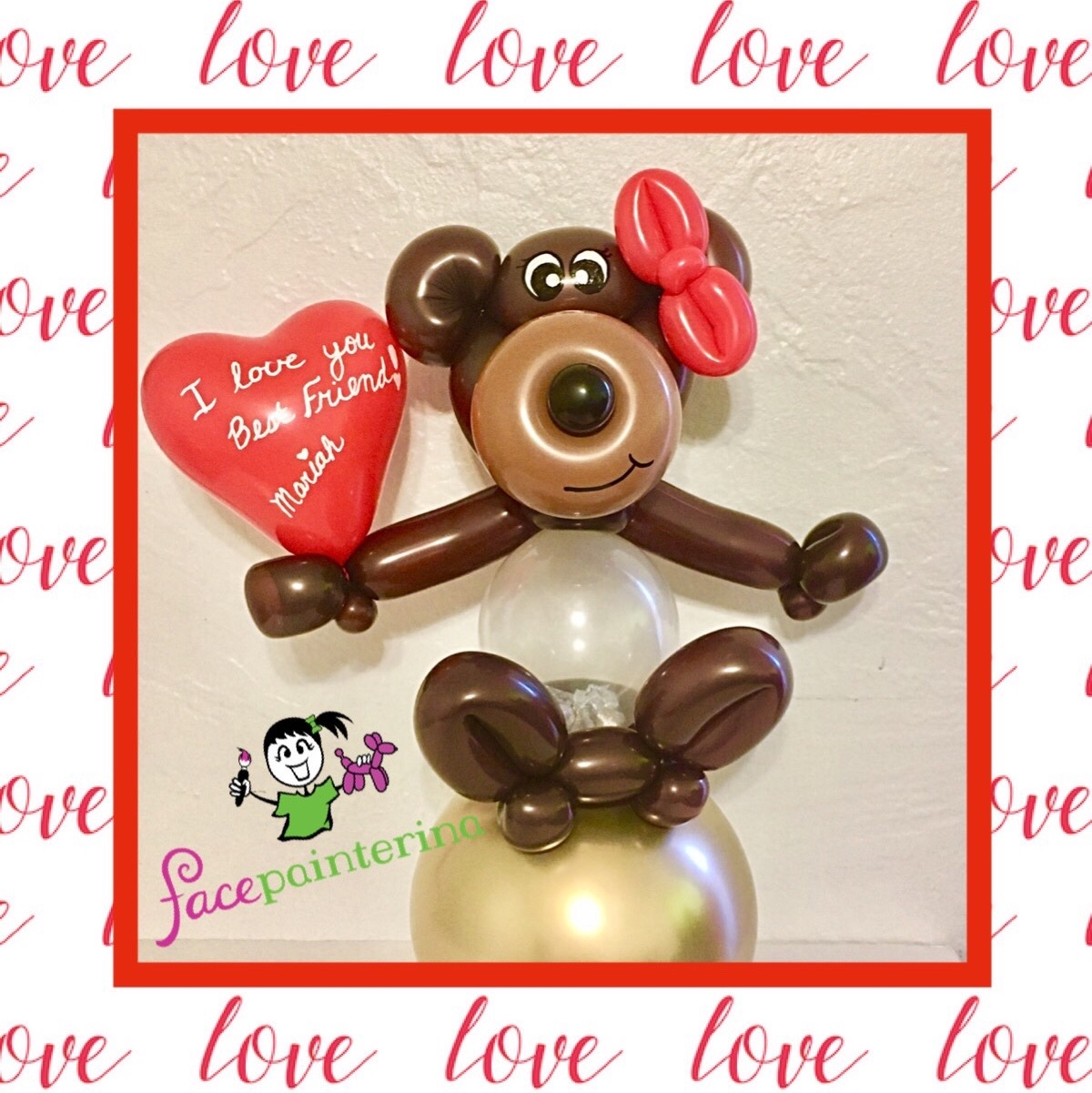 Stuffed Balloon Bear Valentine by Facepainterina