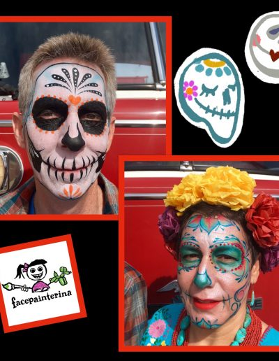 Couple Day of the Dead Face Paints by Facepainterina 2018