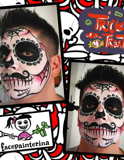 Male Sugar Skull Face Paint by Facepainterina in Albuquerque, NM.